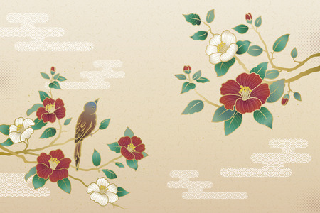 Illustration pour Elegant camellia and bird background with copy space - image libre de droit