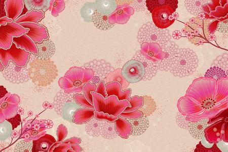 Illustration for Elegant floral background design in fluorescent pink - Royalty Free Image