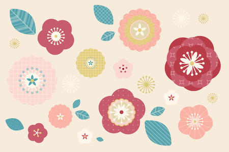 Illustration for Lovely flowers pattern in pastel color for design uses - Royalty Free Image