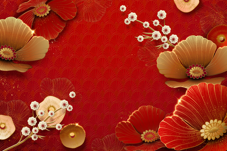 Illustration for Floral and plum flowers on red background in paper art - Royalty Free Image