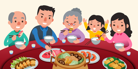 Illustration for Traditional reunion dinner with family in lovely flat style, delicious dishes on lazy susan - Royalty Free Image