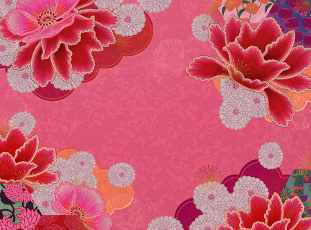 Illustration for Fluorescent pink floral background with copy space - Royalty Free Image