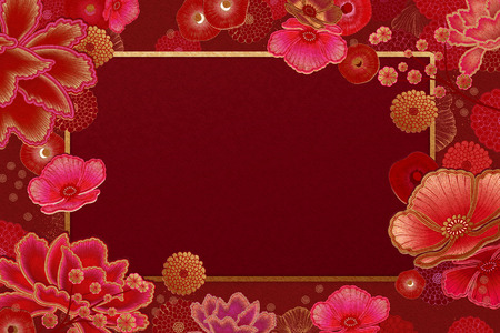 Illustration for Luxury floral frame background in red and fuchsia tone - Royalty Free Image