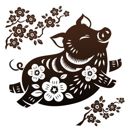 Ilustración de Jumping piggy in Chinese paper art on white background - Imagen libre de derechos