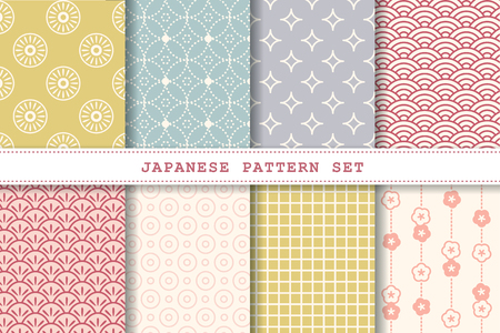 Illustration for Japanese pattern set collection for design uses - Royalty Free Image