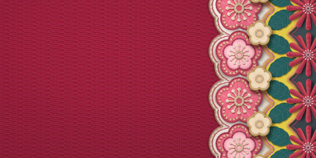 Illustration for Embroidery plum flower and chrysanthemum frame banner - Royalty Free Image