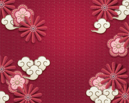 Illustration for Embroidery plum flower and chrysanthemum background on watermelon red - Royalty Free Image