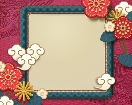 Illustration for Embroidery style lovely plum flower frame in turquoise and fuchsia tone - Royalty Free Image