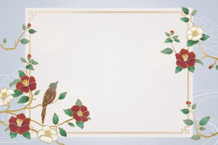 Ilustración de Graceful lunar year background with bird and camellia decorations - Imagen libre de derechos