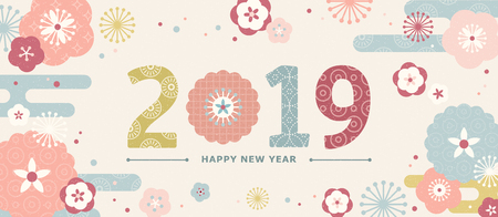 Illustration for Cute 2019 Japan new year banner with flat design flowers - Royalty Free Image