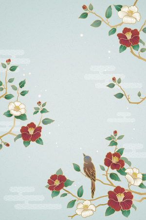 Ilustración de Graceful lunar year poster with bird and camellia decorations on blue background - Imagen libre de derechos