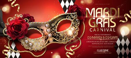 Illustration pour Mardi gras carnival banner design with half mask in 3d illustration on red background - image libre de droit