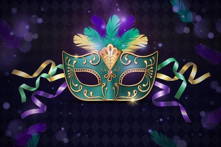 Illustration pour Masquerade decorative mask in 3d illustration on purple background - image libre de droit