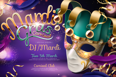 Illustration pour Mardi gras carnival design with clown mask in 3d illustration on purple firework background - image libre de droit