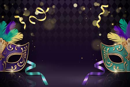 Ilustración de Masquerade decorative mask in 3d illustration on purple background - Imagen libre de derechos