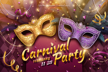 Illustration for Carnival party design with decorative masks and beads in 3d illustration - Royalty Free Image