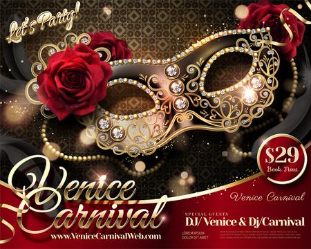 Ilustración de Venice Carnival design with rhinestone half mask and roses in 3d illustration - Imagen libre de derechos