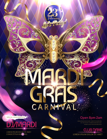 Illustration for Mardi gras carnival design with butterfly mask in 3d illustration, glittering bokeh background - Royalty Free Image