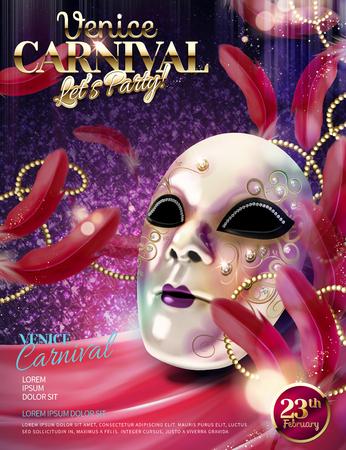 Illustration pour Venice Carnival design with white decorative mask in 3d illustration on purple glittering background - image libre de droit
