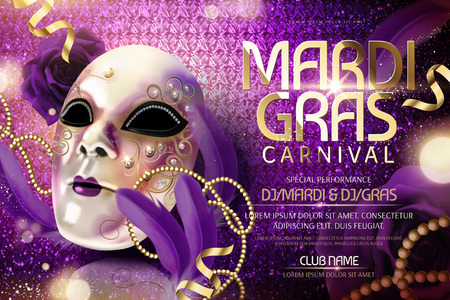 Illustration pour Mardi gras carnival design with mask and feathers in 3d illustration, shimmering purple background - image libre de droit
