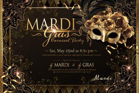 Illustration pour Mardi gras carnival poster design with golden mask and roses in 3d illustration, sparkling background - image libre de droit