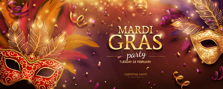 Illustration pour Mardi Gras party banner design with golden masks and feathers in 3d illustration, confetti and streamers background - image libre de droit