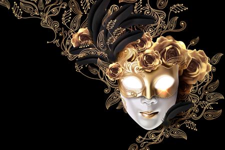 Illustration pour Carnival mask design with golden roses and line plants doodles on black background in 3d illustration - image libre de droit