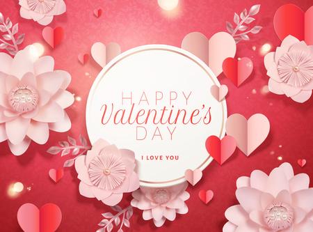 Ilustración de Happy valentine's day card template with paper pink flowers and heart shaped decorations in 3d illustration - Imagen libre de derechos