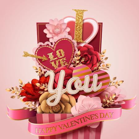 Ilustración de Happy valentine's day gift box full of paper flowers and heart shaped decorations, pink background in 3d illustration - Imagen libre de derechos