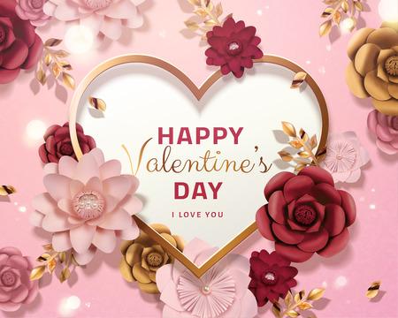 Ilustración de Happy valentine's day card template with paper flowers in 3d illustration, pink background - Imagen libre de derechos