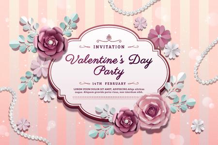 Ilustración de Valentine's day party with exquisite paper flowers decorations in 3d illustration - Imagen libre de derechos