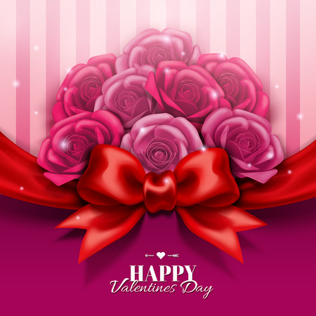 Illustration for Happy Valentine's day design with roses boutique and red bow in 3d illustration - Royalty Free Image