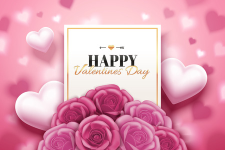 Illustration for Happy Valentine's day design with pink roses boutique and heart shaped in 3d illustration - Royalty Free Image