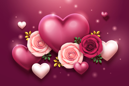 Illustration for Valentine's day design with roses and heart shaped decorations in 3d illustration - Royalty Free Image