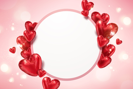 Illustration pour Heart shaped balloons with copy space on pink bokeh background in 3d illustration - image libre de droit
