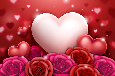 Illustration for Valentine's day with roses and heart shaped decorations in 3d illustration - Royalty Free Image