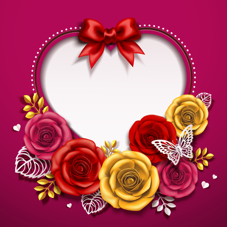 Illustration for Happy Valentine's day card design with roses in 3d illustration - Royalty Free Image