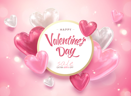 Illustration pour Happy Valentine's day template with heart shaped balloons in 3d illustration - image libre de droit