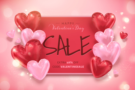 Illustration pour Happy Valentine's day sale template with heart shaped balloons in 3d illustration - image libre de droit