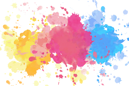 Illustration for Vivid splashing watercolor drops on white background - Royalty Free Image