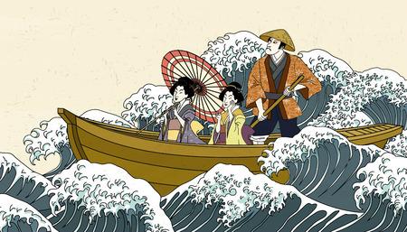 Ilustración de People holding umbrella on boat in ukiyo-e style - Imagen libre de derechos