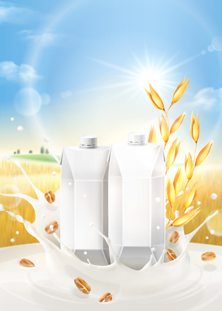Illustration for Oat milk ads with splashing liquid and blank carton boxes on bokeh grain field background in 3d illustration - Royalty Free Image