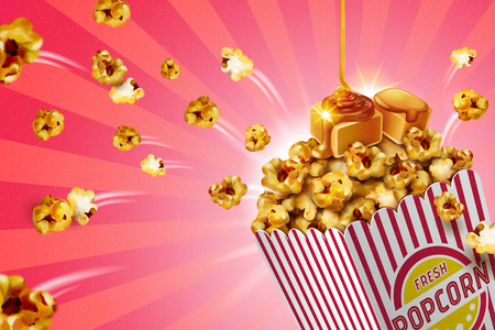 Illustration pour Classic caramel popcorn in striped paper container, 3d illustration - image libre de droit
