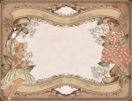 Illustration pour Graceful women having afternoon tea in garden, woodcut style background - image libre de droit