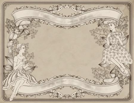 Ilustración de Graceful women having afternoon tea in garden, woodcut style background - Imagen libre de derechos