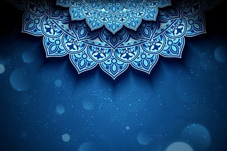 Illustration for Blue arabesque flower background with glitter bokeh effect - Royalty Free Image