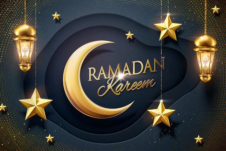 Ilustración de Ramadan design dark blue paper background with hanging golden star and fanoos - Imagen libre de derechos