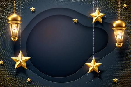 Ilustración de Dark blue paper background with hanging golden star and fanoos - Imagen libre de derechos