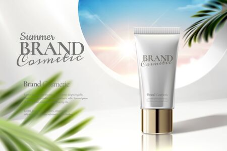 Illustration pour Cosmetic tube ads on white clear background with palm leaves in 3d illustration - image libre de droit