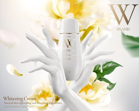 Illustration pour Whitening cream ads with white hand and flowers in 3d illustration - image libre de droit